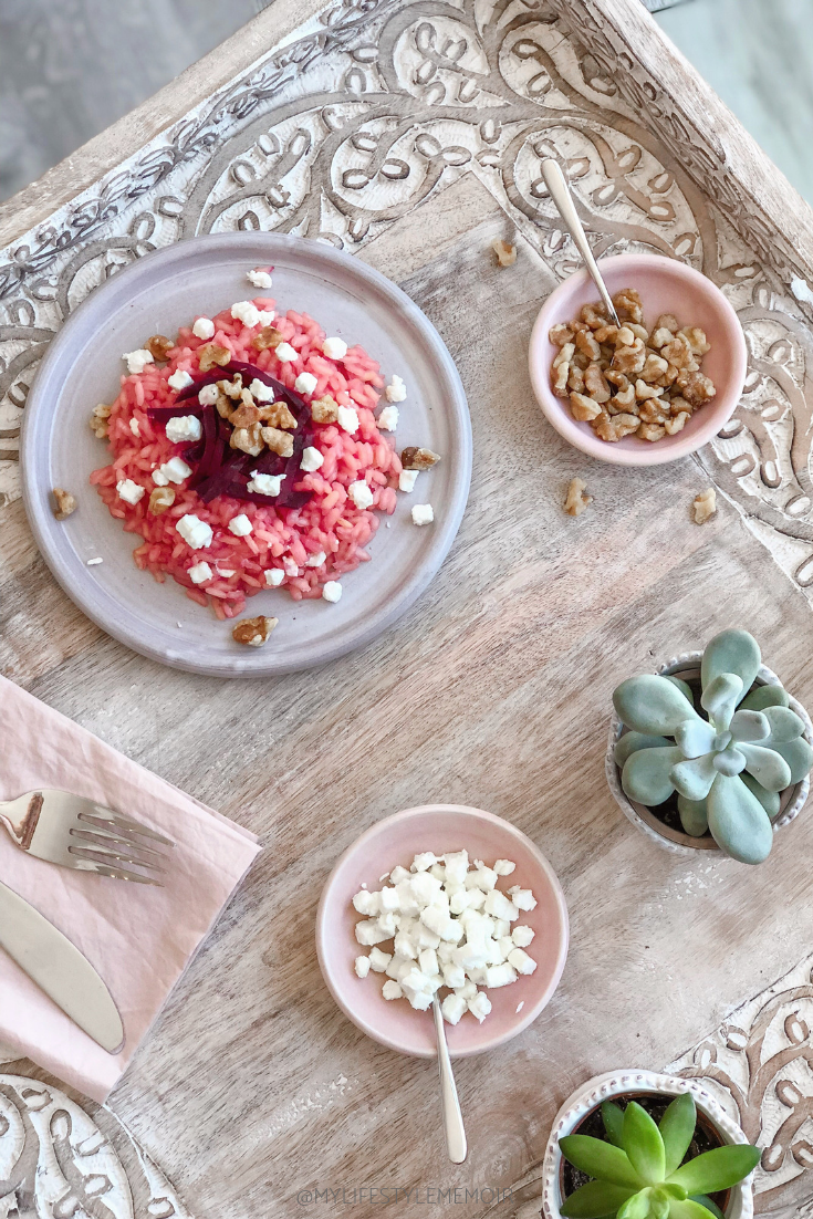 Pink Beetroot Risotto topped with goat cheese and walnuts is an easy and delicious recipe to make! #risotto #pinkrisotto #beetrootrisotto #glutenfree #italian #beetroots #easyrisotto #beetsrecipe